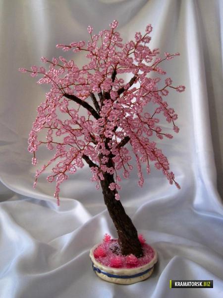 Деревья из бисера.  Прекрасные идеи подарков - бизнес-подарков, подарков ко дню рождения.